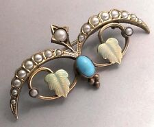 ESTATE ANTIQUE SEED PEARLS TURQUOISE GOLD ENAMEL ART NOUVEAU  PIN BROOCH