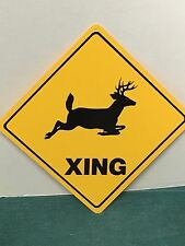 "12"" x 12"" Deer Xing Crossing Sign buck doe hunter funny gag novelty plastic Sign"