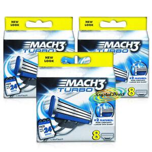 3x Gillette Mach 3 Turbo Pack of 8 Replacement Shaving Razor Blades 100% Genuine