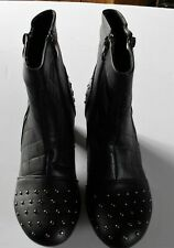 Black Gold Studded Kitten Heel Ankle Boots Size 4 (1268)