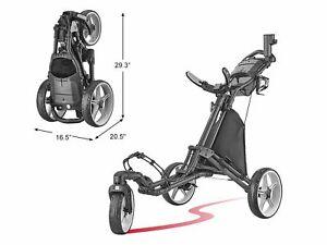 Caddytek Ez tour 360 Swivel Deluxe 3 Ruota Golf Trolley a Spinta 3-Rad Caddy