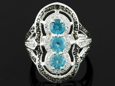 Rarities 1.20ctw Round Blue Apatite.Round White Zircon Round Blue diamond size 5