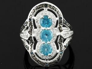 Rarities 1.20ctw Round Blue Apatite.Round White Zircon Round Blue diamond size 5