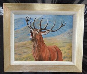 Oil Painting of Red Deer Stag in a Highland Glen, panel,