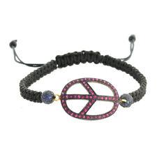 Peace Sign Macrame Bracelet Ruby Gemstone 925 Sterling Silver Handmade Jewelry