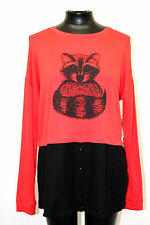 kensie Long Sleeve Graphic Layered Look Top Red Paprika Combo Szie M MyAFC