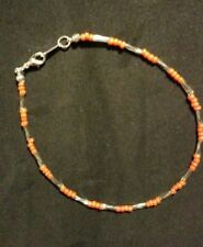 Coral Colored seed beads Silver plated  Plus Sized Bracelet /Anklet 9 inches
