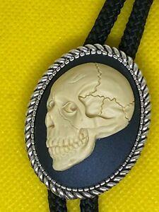 Sugar Skull Cameo Pendant Bolo Necklace Lariat Tie Gothic Rockabilly Biker Gift