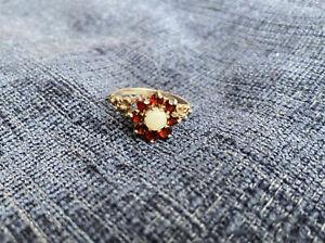 Vintage Sterling Silver Opal Garnet Cluster Ring