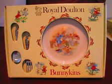 Royal Doulton Bunnykins Growing Up Set Plate Fork Spoon Bath Time Plate
