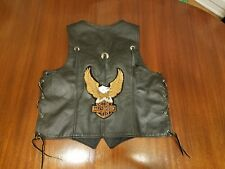Vtg Harley Davidson Men Vintage Convertible Black Leather Jacket Vest Rare Pins