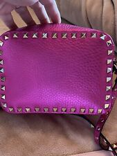 Authentic Valentino Rockstud Metallic Pink Leather Crossbody Bag  See Pictures