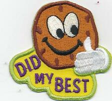 Girl DID MY BEST selling cookies Fun Patches Crest Badge SCOUTS GUIDE good job