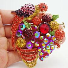 "3.15"" Fashion Style Fruit Parrot Bird Animal Brooch Pin Rhinestones Crystal"