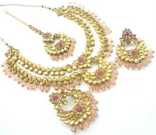BABY PINK LCT KUNDAN GOLD TONE NECKLACE SET BOLLYWOOD BRIDAL PARTY WEAR JEWELRY