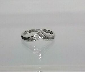 Genuine 14ct White Gold Wishbone Diamond Simulant Ring  (NOT FILLED OR PLATED)