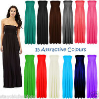 New Ladies Womens Boobtube Sheering Bandeau Strapless Long Maxi Flared Dress