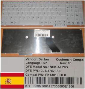 CLAVIER QWERTY ESPAGNOL ACER Aspire 7220  NSK-AFP0S 9J.N8782.P0S KB.INT00.145