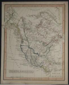NORTH AMERICA 1835 FENNER UNUSUAL ANTIQUE ORIGINAL LITHOGRAPHIC MINIATURE MAP