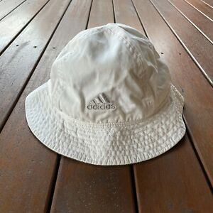 Vintage Adidas Bucket Hat Cap White Fishing 80s 90s Size S / M Embroidery Logo