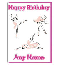 Personalised Pink Ballet Dancer Birthday Card - Daughter Girls Sister Mum Friend
