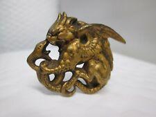 Antique Brass Mythological Dragon & Snake Hat Pin