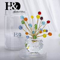 Colorful Cryatal Flat Beads Cut Glass Flower Pot Ornament Home Car Decor Gifts