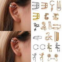 Vintage Punk Ear Clip On Cuff Wrap Stud Hoop Non Piercing Cartilage Earrings Hot