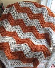 CROCHET handmade baby blanket afghan wrap chevron ripple VANNA yarn autumn fall