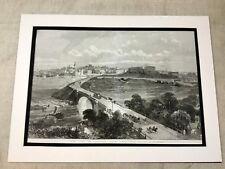 Antique Print City of Chester England Landscape Original 1869 LARGE Victorian