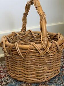 "Vtg Basket Rattan Bamboo Woven Wicker LARGE 18"" Picnic Farmers Market Boho Eco"