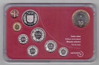 SWITZERLAN​D – 9 DIF UNC COINS MINT SET: 0.01 - 10 FRANCS 2004 YEAR BIMETAL