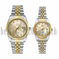Women Men Fashion Rhinestone Date Stainless Steel Band Quartz Analog Wrist Watch