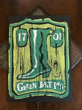 Western Cowboy Wood Sign GREEN BOOT INN 1701 Wall Plaque Rustic Decor Bar Sign