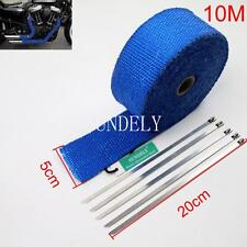 NEW 1-PCS BLUE WRAP EXHAUST MANIFOLD 50MM x 10METER + 5 CABLE TIES 20CM