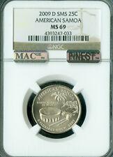 2009-D AMERICAN SAMOA QUARTER NGC MS-69 SMS MAC FINEST GRADE MAC SPOTLESS