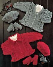 "Baby Frilly Peplum Cardigans Beret & Mitts 16 - 26"" Aran Knitting Pattern"