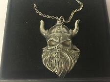 """Viking Devil Demon GT187 Pewter On 16"""" Silver Plated Curb Necklace"""
