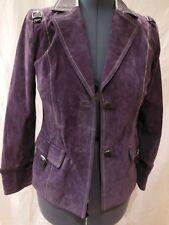 Bradley Bayou Womens Suede Leather Jacket w/ Patent Leather Trim Size XS  Plum