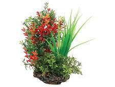 Sucker Mounted Plant with Rock Base Aquarium Fish Tank Ornament Decoration