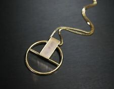 SALE - Gold Geometric Necklace, Rose Quartz Necklace, Long Chain Gold Necklace,