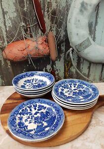 Vintage JAPAN Willow Pattern, 4 Dessert Plates, 4 Saucers & 2 B&B Plates