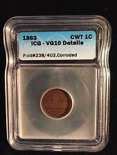Civil War Primitive Monitor 1863 Rare Fuld 238/402 Brass Token Vintage Icg Vg10