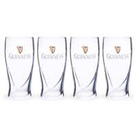 GUINNESS EMBOSSED PINT GLASSES 4 PACK WITH HARP 20 oz OFFICIALLY LICENSED