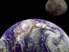 Espacio foto Mock Up Tierra Luna Planeta por satélite mundial de impresión de arte cartel 313pya