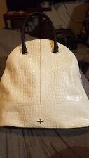 Pour La Victoire NORA White Pebbled Dome Tote Bag Crocodile Embossed Leather NWT