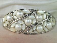 Honora Cultured Pearl & Mother of Pearl Sterling Silver Bangle Bracelet -7.5""