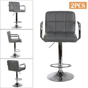 2x Modern Breakfast Bar Stools Swivel PU Leather Kitchen Chrome Metal Lift Chair