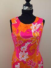 Hawaiian Maxi Dress Sleeveless Bright Floral Watteau Back Zippered Floor Length