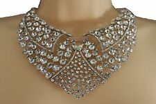 New women lapel necklace fancy fashion silver metal collar choker bib rhinestone